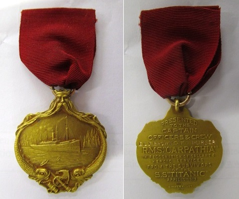 The Titanic gold medal awarded to a crew member of the Carpathia
