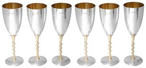 Suart Devlin silver champagne flutes