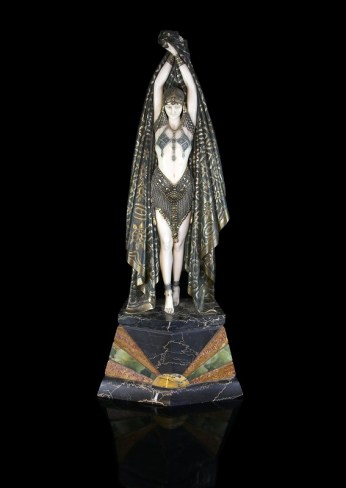 The evocative figure of Antinea by Romanian sculptor Chiparus, who worked in Paris in the early 20th century, has been valued at between £8,000 and £12,000
