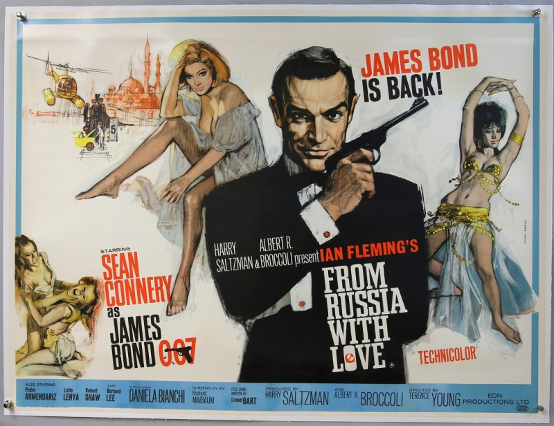 A British Quad poster advertising the 1963 James Bond film, From Russia With Love, featuring artwork by seminal poster artist Renato Fratini, had a final price of £7,620