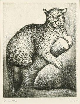 An etching of a leopard by Henry Moore