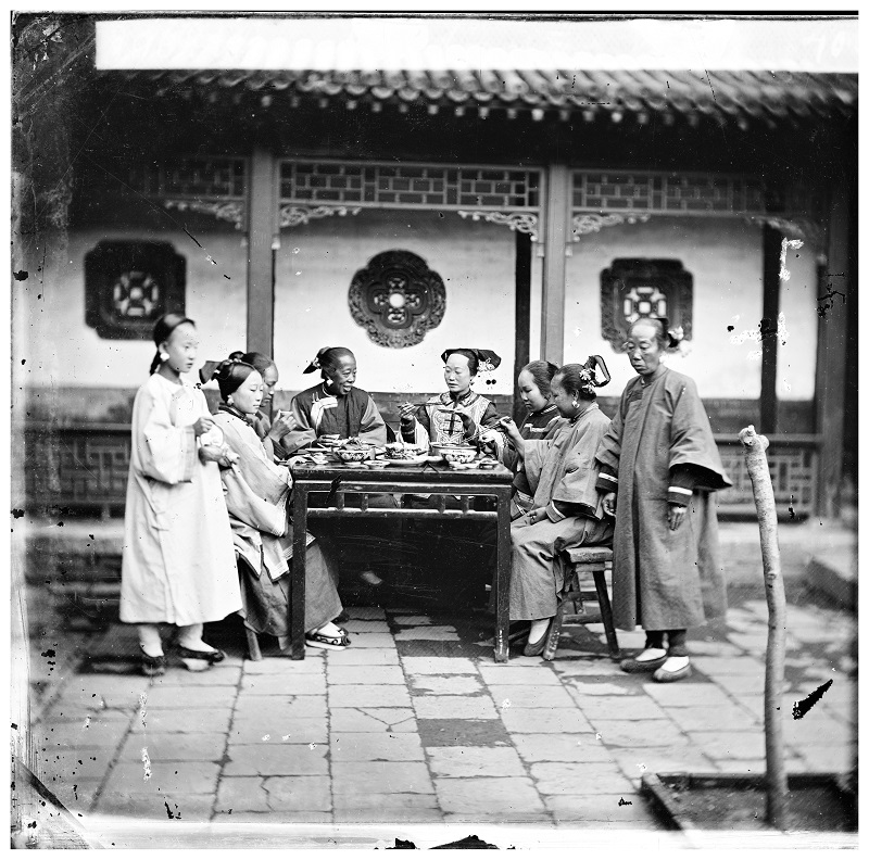 Cantonese ladies drinking tea in a John Thomson photograph