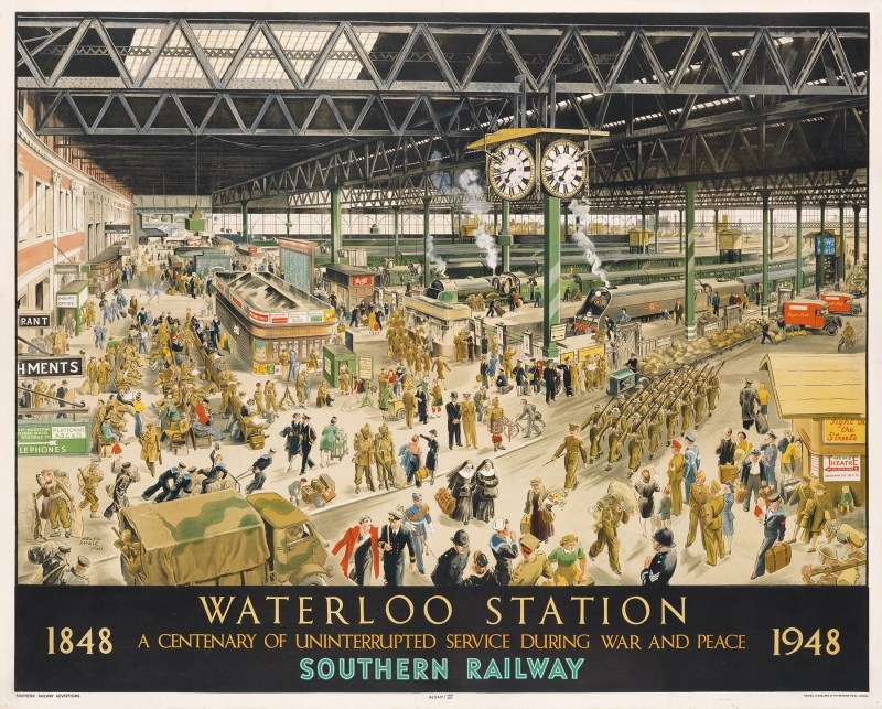 Vintage travel poster of Waterloo Station in London