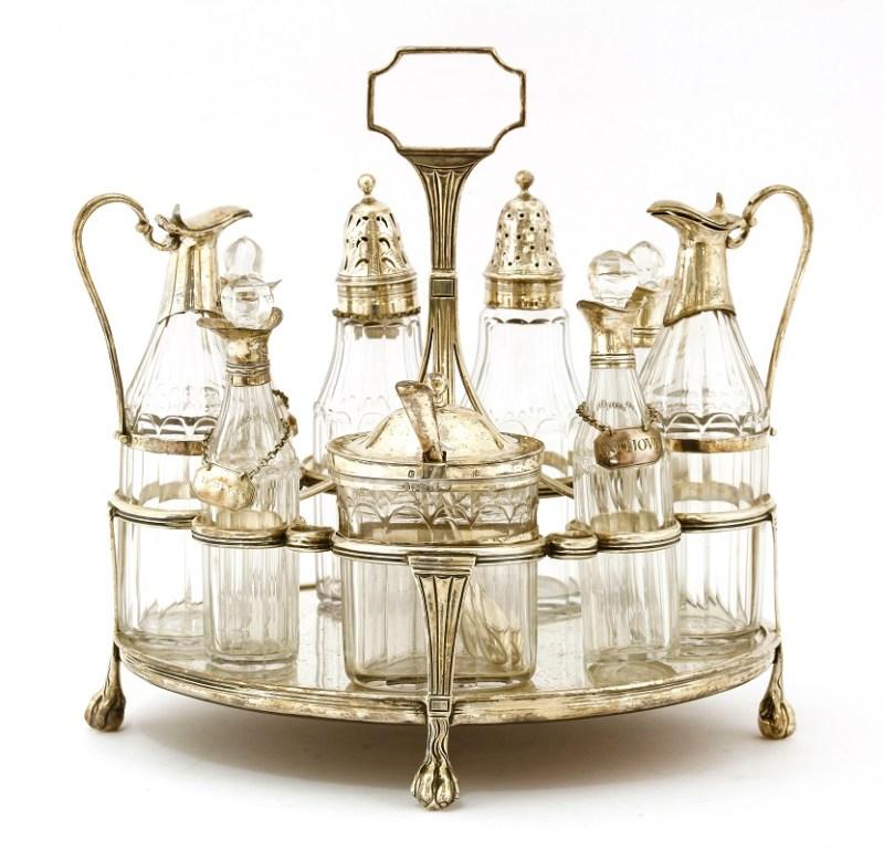 A George III nine-bottle oval cruet stand in Tim Wonnacott auction