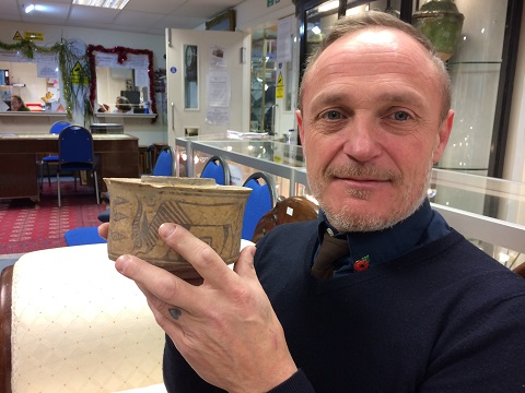 Karl Martin with his ancient pottery pot