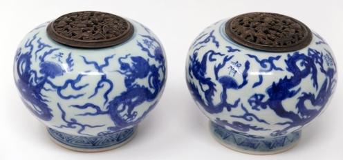 The pair of blue and white Chinese incense burners that sold for £25,000