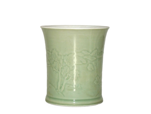 Carved celadon brush pot