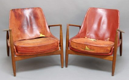 Vintage Danish leather chairs by Ib Koford Larsen