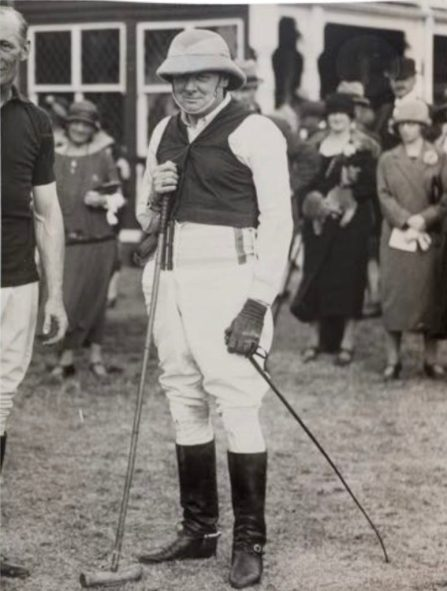 Winston Churchill playing polo