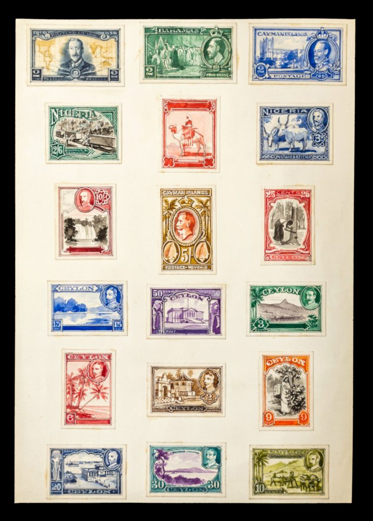 Nigeria and Ceylon stamp designs - credit Hansons