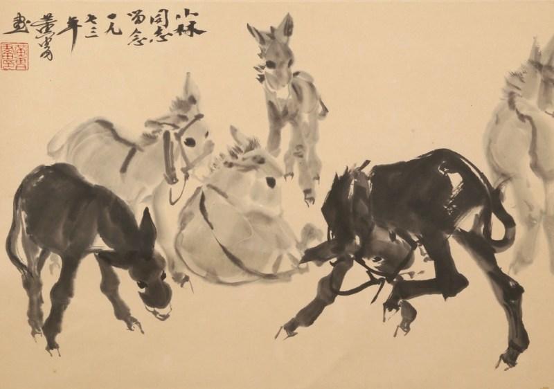 Chinese 20th-century artist Huang Zhou, Donkeys, hanging scroll
