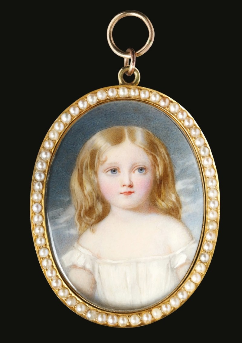 William Egley (British 1798-1870), portrait miniature of a young girl