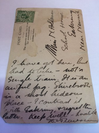 A postcard written by DH Lawrence