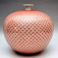 米久和彦作 九谷焼 赤繪風車文花瓶