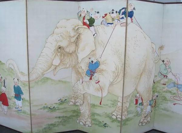 象と唐子図屏風