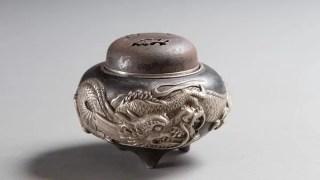 鉄地銀象嵌龍図香炉