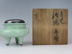 初代諏訪蘇山作 青磁袴腰香炉