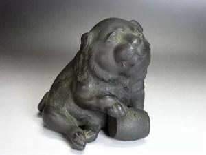 銅製 子犬置物