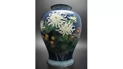 安藤七宝製/菊花図花瓶
