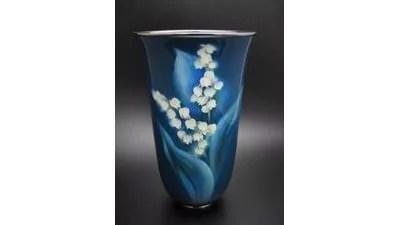 安藤七宝製/スズラン図花瓶