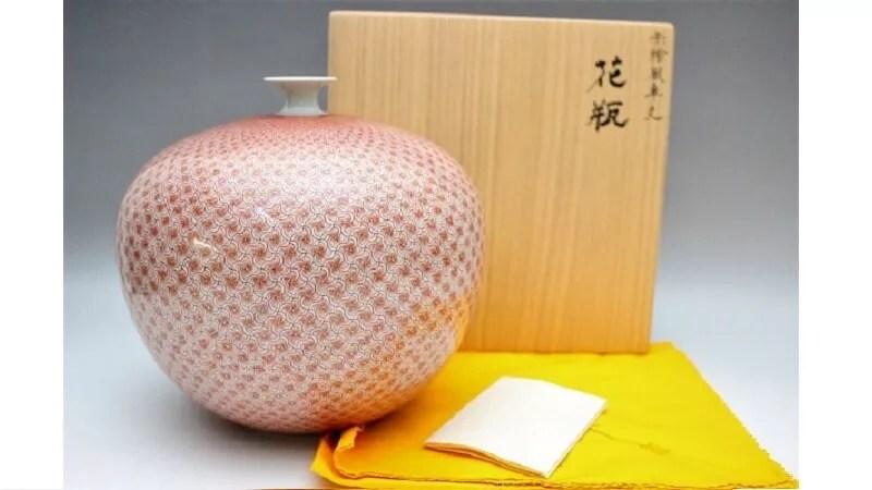 米久和彦作/九谷焼赤繪風車文花瓶