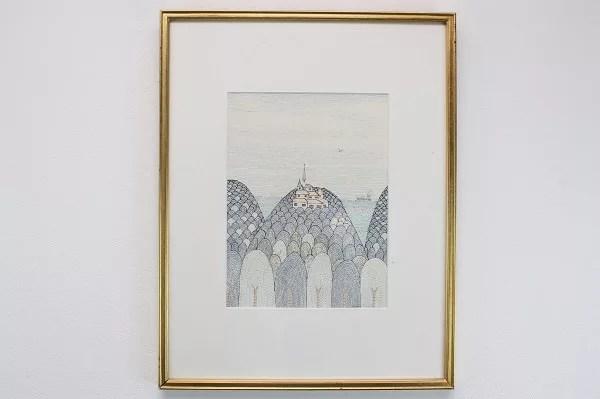 南桂子作のペン画『教会』