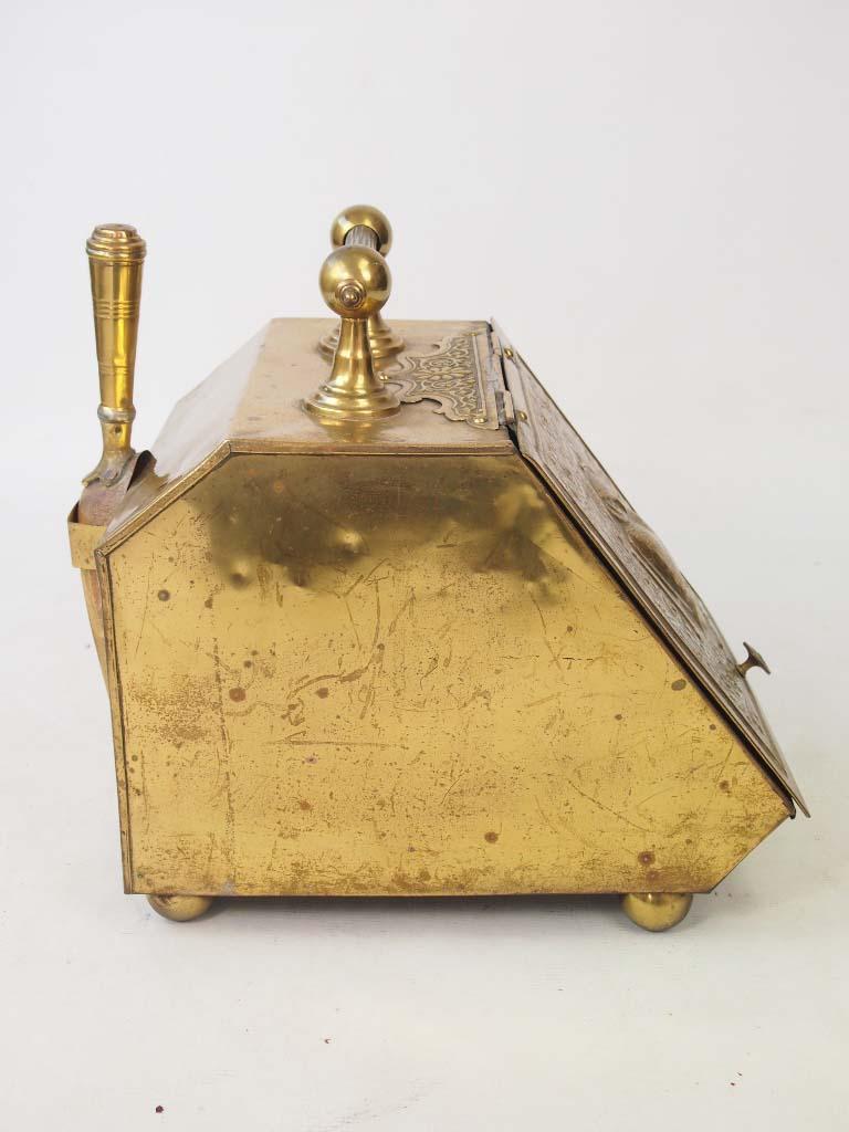 Antique Arts Amp Crafts Brass Coal Scuttle Log Bin