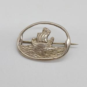 Robert Allison Silver Ship Brooch
