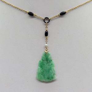 9K yellow gold necklace with jade buddha pendant in art deco style with onyx