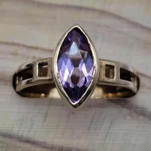 9ct Mackintosh Art Nouveau Marquis Amethyst Ring