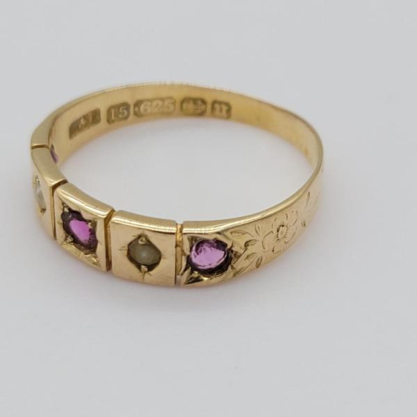 Gorgeous Victorian 15ct Rose Gold Ruby and Seed Pearl Ring