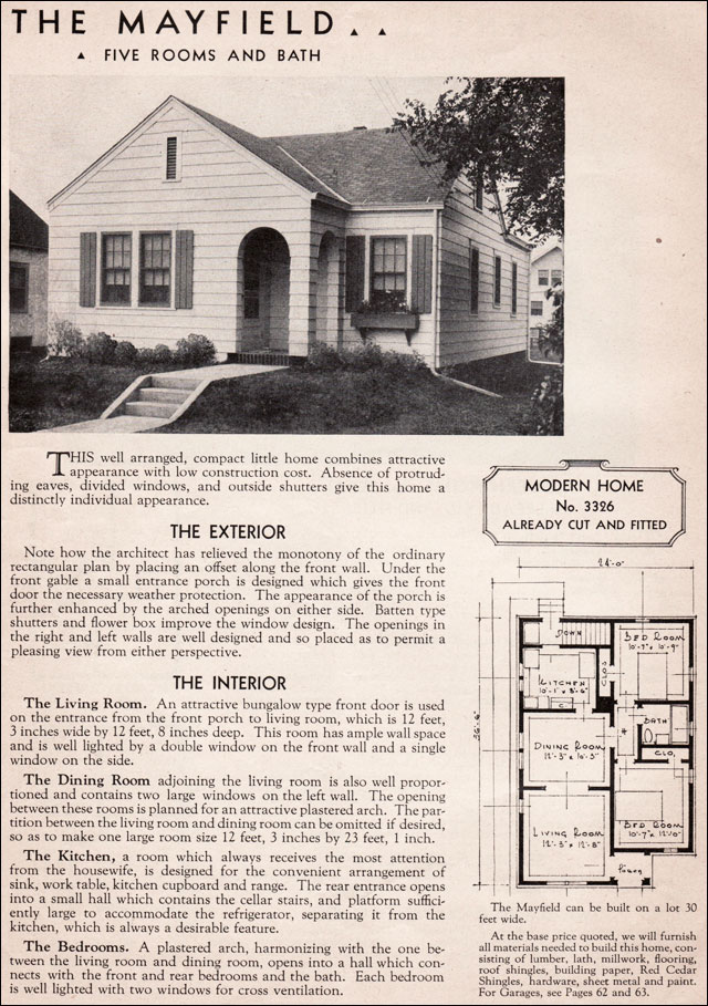 Sears Kit Homes 1936 Mayfield Small Eclectic Cottage