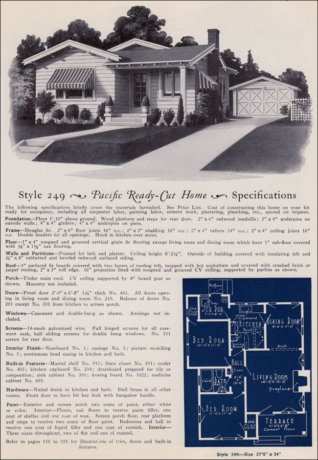 1925 California Bungalow Cottage Pacific Ready Cut Homes