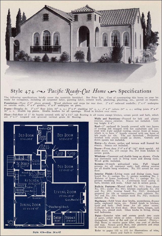1925 California Spanish Revival House Pacific Ready Cut
