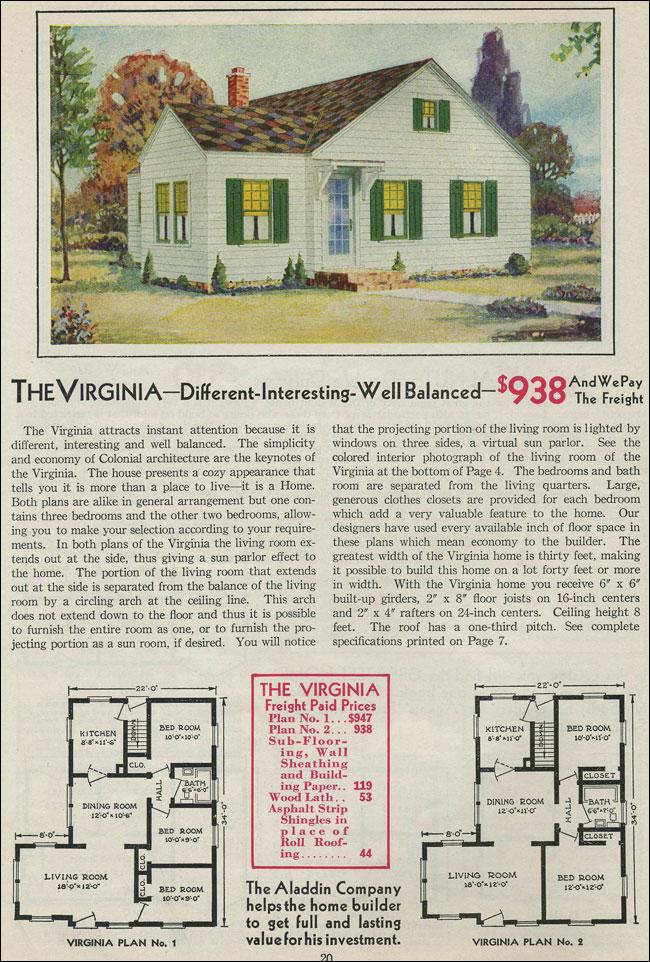 1931 Minimal Traditiional Cottage Aladdin Kit Home Cross Gabled Virginia