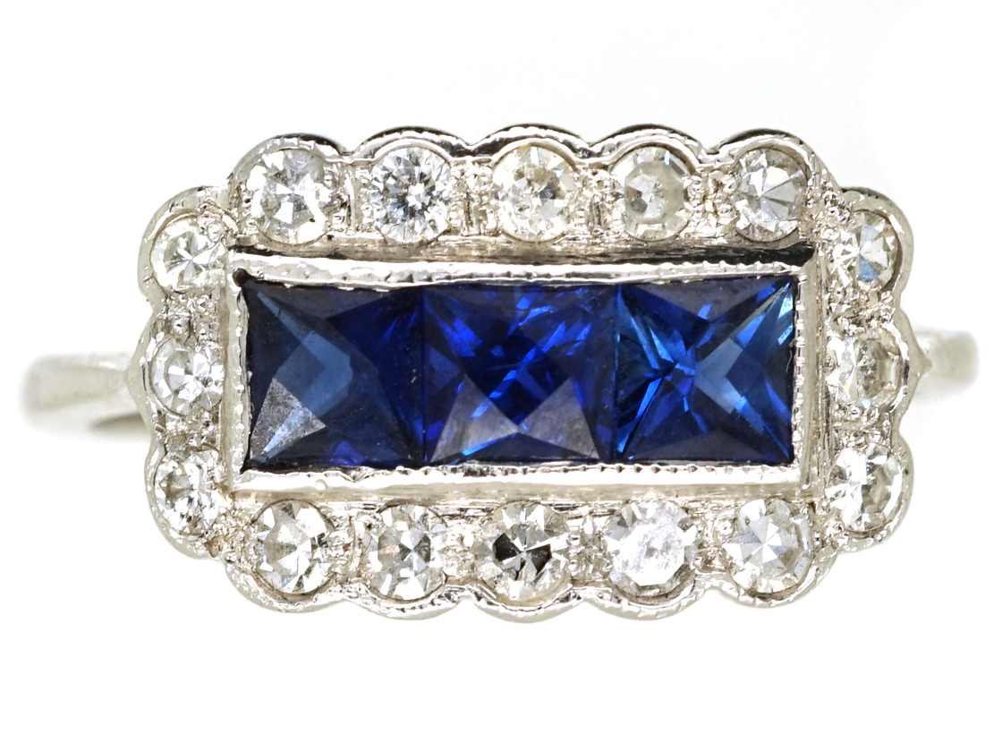 Art Deco 18ct White Gold, Sapphire & Diamond Rectangular