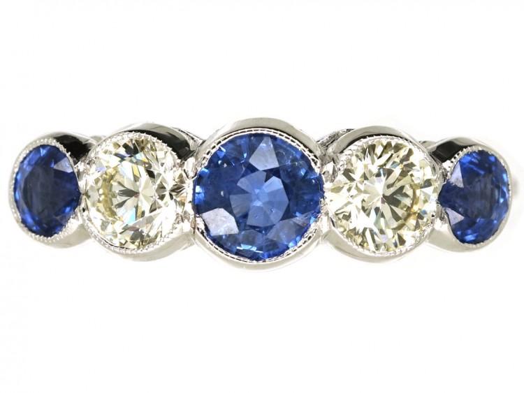 Art Deco 18ct White Gold, Ceylon Sapphire & Diamond Five