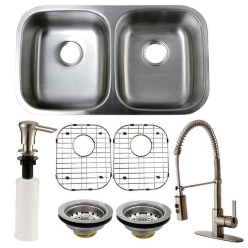 ks kzgkud3118f undermount double bowl kitchen sink with fauc