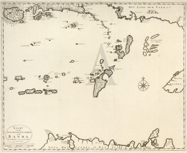 Kaart van de Zuyd-Ooster Eylanden van Banda - Antique Map from 1726