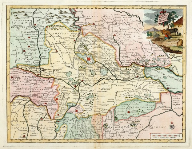 Carta Geografica del Ducato di Mantova - Antique Print from 1750