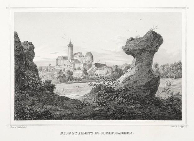 Burg Zwernitz in Oberfranken - Antique Print from 1850