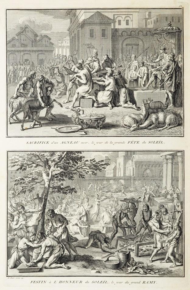 Sacrifice d'un Agneau noir, le jour de la grande Fete du Soleil. Festin a L'Honneur du Soleil, le jour du grand Ramy. - Antique Print from 1723