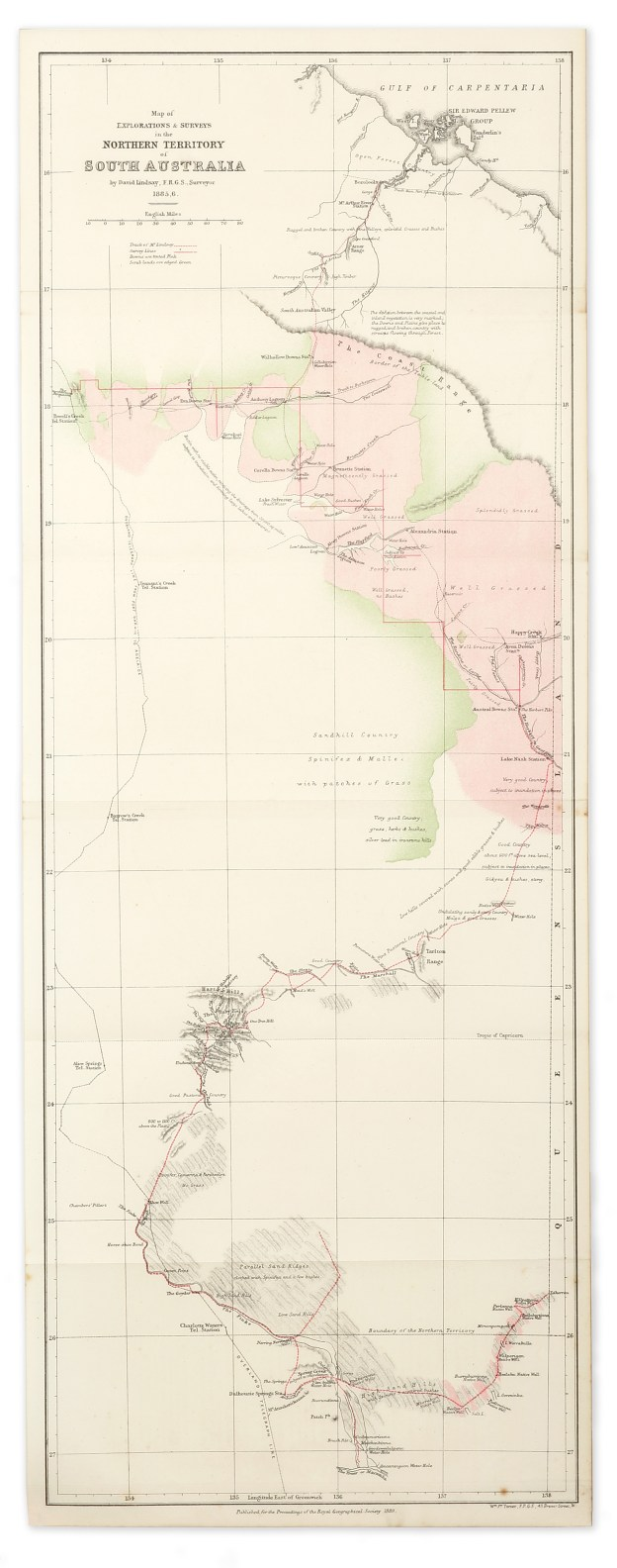 Map of Explorations & Surveys in the Northern Territory of South Australia by David Lindsay, F.R.G.S. Surveyor 1885-6. - Antique Map from 1889