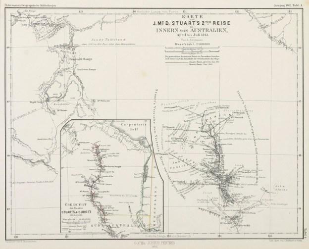 Karte von J.Mc.D.Stuart's 2ter. Reise im Innern von Australien April bis Juli 1861. - Antique Print from 1862