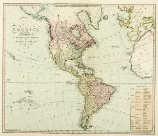 Americas Continent -Showing United States South America, Canada, Central America, Caribbean