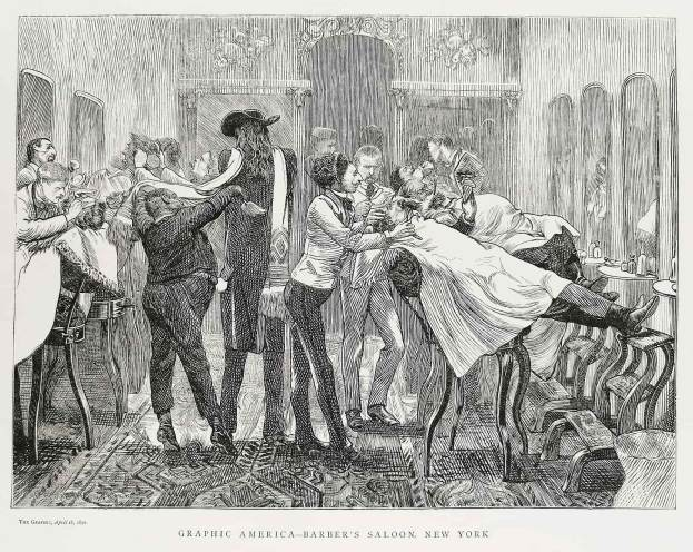 Graphic America - Barber's Saloon, New York. - Antique Print from 1870