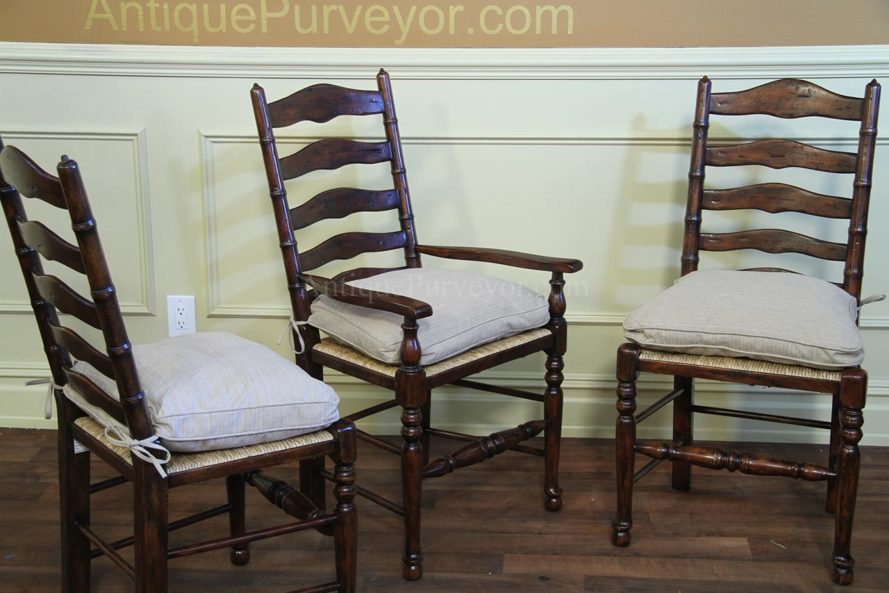 Rustic Ladder Back Chairs Rush Seats With Upholstered Seat
