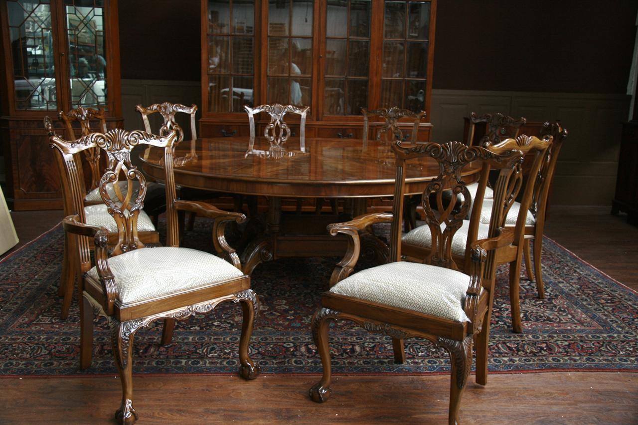 Large Oversized Round Dining Table, Large Round Mahogany