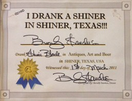Permalink to: I Drank A Shiner in Shiner, Texas!!!™