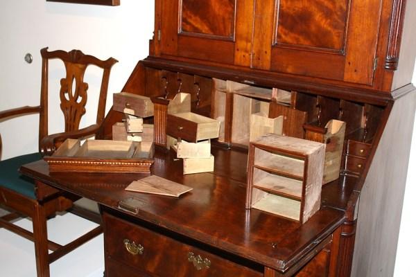 Antique desks, hidden compartments, back to school series, Antiques Diva,